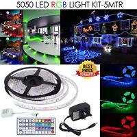 5M 5050 USB LED Light Strip RGB Multi-Color TV Backlight Changing Remote 12V Kit