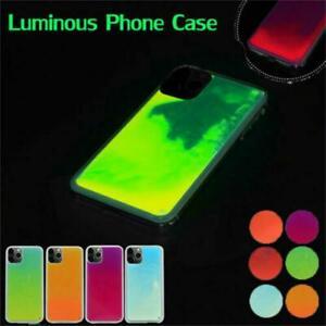 For iPhone 12 11 Pro XS Max Quicksand Liquid Luminous Neon Glow Sand Case Cover