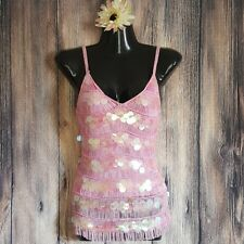 RARE Gianni Versace Couture Tiered Pink Fringe Iridescent Paillettes Blouse sz S