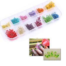 12 Couleur 3D Réal Fleur Séché Sticker Autocollant Déco Ongles Nail Art Manucure