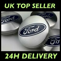SET of 4 Ford SILVER 54mm Alloy Wheel Centre Caps Focus Mondeo Fiesta Galaxy Kug