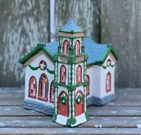 Holiday Expressions Church Dickens Collectables Porcelain Lighted House w/Box