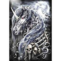 5D DIY Full Drill Diamond Painting Dark Horse Skull Cross Stitch Embroidery #gib
