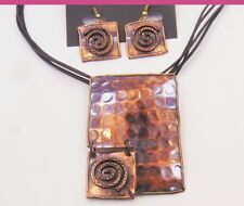Metallic Geometric Swirl Necklace & Earrings Set Copper Hand made in India