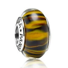 Pandora Murano Glass Charm Bengal Tiger Retired Bead Silver S925 ALE New,