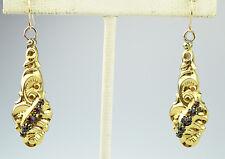 ANTIQUE VICTORIAN 10K YELLOW GOLD BOHEMIAN GARNET 3D SWIRL PIERCED EARRINGS
