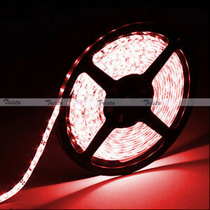 Waterproof Red 5M 300 Leds 3528 SMD LED Flexible Strip Light 12V DC Black PCB