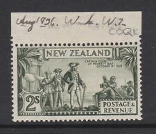 NEW ZEALAND 1936-42 2/- OLIVE-GREEN P.13½ x 14 WITH 'COQK' FLAW SG 589ca MINT.