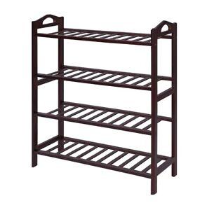 SONGMICS 100% Bamboo 4-Tier Rack 30 Inch Wide Entryway Shoe Shelf Storage Organi