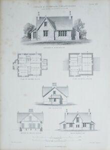 1868 Architektonisch Aufdruck Hütte Roseneath Dumbartonshire John Baird Boden