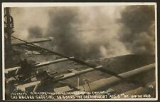 Royal Navy HMS Dreadnought 12 inch After Turret Guns Firing - 1908 RP Postcard