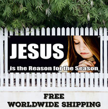 Jesus is the Reason for the Season Vinyl Banner Sign Poster Flag New 24 x 60 ""
