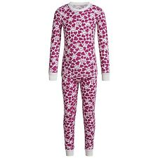 Cuddl Duds - Girls S 6/6X - Pink Exploded Heart Thermal Base Layer Top/Pants Set
