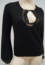BARBARA BUI Black 100% Merino Wool Chiffon Detail Long Sleeve Jumper Sweater Top