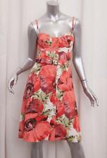 CELINE Womens Coral Pink Floral Linen Belted Sleeveless Bustier BRA Dress 38 XS