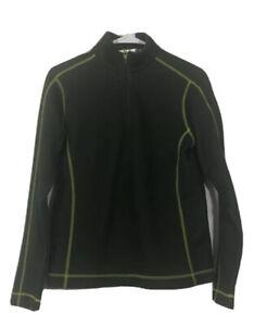 Nike Fit Dry Womens Golf Jacket Green Black 1/4 Zipper Mock Neck Long Sleeve S