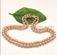 "south sea pink pearl necklace 17-18"" Genuine Natural 2 rows 9-10mmAaa natural"