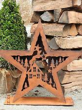 Edelrost Windlicht Stern mit Winterlandschaft Weihnachten Advent Garten Terrasse