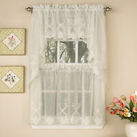 Laurel Leaf Sheer Voile Embroidered Ivory Kitchen Curtains Tier, Valance or Swag