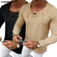Fashion Mens Lace Up Casual Shirts Long Sleeve V Neck Muscle Slim Tops T-Shirt