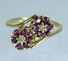 Fine Ruby Diamond 14K Gold Flowers Ring Estate Jewelry