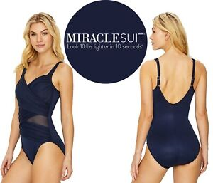 MIRACLESUIT UNDERWIRED ONE PIECE SWIMSUIT-NAVY BLUE-MADERO-UK-12-US-10