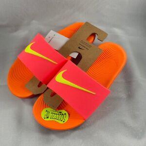 Nike Kawa Slide Hot Punch/Volt-Total Orange 819352 601 Pink 5Y (B)