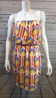 Women's Peach Love Yellow, Pink, Blue Geometric Sleeveless Boutique Dress Sz M