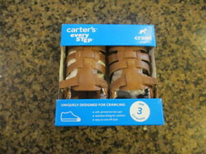 Carter's Addison brown Infant 3 Leather Sandals Crawl stage 1 NIB 6 to 9 months