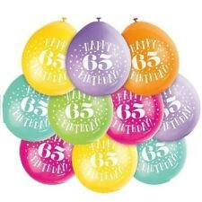 10 X HAPPY 65th BIRTHDAY 9 LATEX BALLOONS MIXED AIR FILL PARTY DECORATION 65