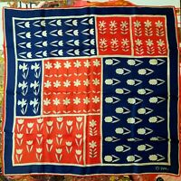 Vintage 1960's Mid Century Silk Floral Color Block Vera Neumann Scarf (23 x 23)