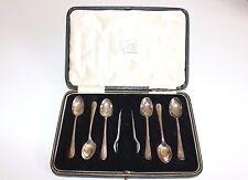 VINTAGE Antico Set di 6 solido argento marchiato cucchiaini da tè e pinze, inscatolato