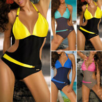 Womens Halter Neck Monokini One Piece Bikini Padded Swimsuit Hollow Out Swimwear
