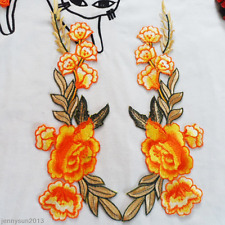New 1 Pair Rose Flower Leaves Embroidery Iron On Dress Clothing Applique Patches
