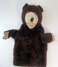 "Vintage Hand Puppet Teddy Bear Excelsior Stuffed Head Untagged 9"" Glass Eyes"