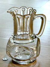 EAPG large WATER PITCHER cut etched leaf NAIL U.S. Glass #15002 antique 1880s