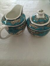 2pc.Grace TeaWare Creamer &Covered Sugar Bowl ,Withe And Teal,Gold-new,free Ship