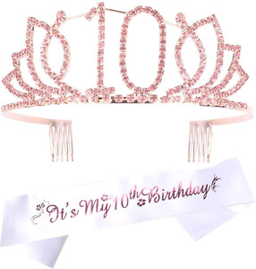 10th Birthday Gifts for Girl, 10th Birthday Tiara and Sash, Happy 10th Birthday