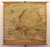 alte Schulwandkarte Europakarte ~1914 Österreich-Ungarn 187x190 vintage loft map