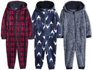 Kids Boys Girls Bodysuit Warm Fleece 12-24 2 3 4  Pyjamas All in One Onesie46