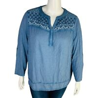 New Style & Co Womans Blue Blouse Top Sz 2X Neck Detail Distressed NWT
