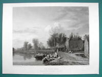 HOLLAND Dutch Landscape Scenery River Bank - SUPERB 1850s Antique Print