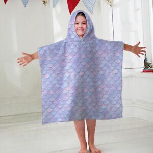 Kids Hooded Towel Poncho Mermaid Scales Design Childrens Bathrobe Swim Bath Sun