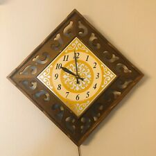Vintage Lux Sunburst Diamond Shape Wall Clock - Robert Shaw Mid Century Modern