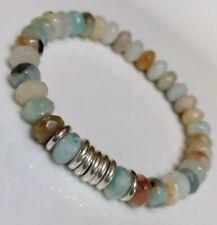Amazonite rondelle gemstones & Links Of London sweetie silver rings- Bracelet