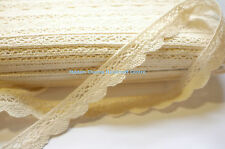 Cotton Cluny Lace Ribbon Trim, Beige, 20 mm, 2 Yards