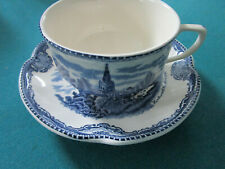 JOHNSON BROS OLD BRITAIN CASTLES BLUE 3 CUPS SAUCERS
