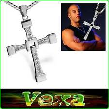 Necklace Vin Diesel Fast Furious Toretto Cross Pendant Crystal Rhinestones NK02