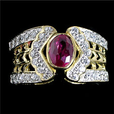 RUBY RED simulated CLEAR CZ CIGAR BAND RING Sz 6_#G3269