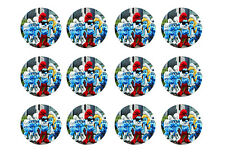 """SMURFS CUPCAKE TOPPERS 12 x 2"""" CIRCLES EDIBLE ICING PARTY DECORATION IMAGE"""